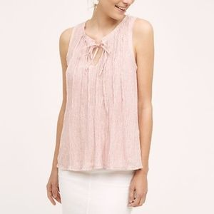 NWT ANTHROPOLOGIE Meadow Rue Pleated Tie-Neck Tank